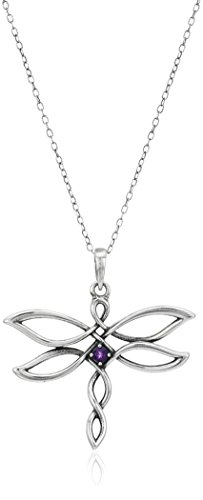 """Sterling Silver Oxidized Genuine African Amethyst Celtic Knot Dragonfly Pendant Necklace, 18"""""""