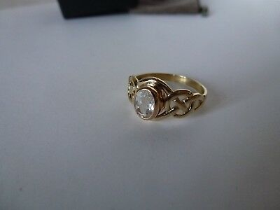 Clogau Welsh Gold, 9ct Yellow & Rose Gold White Topaz Ring, size O 1/2