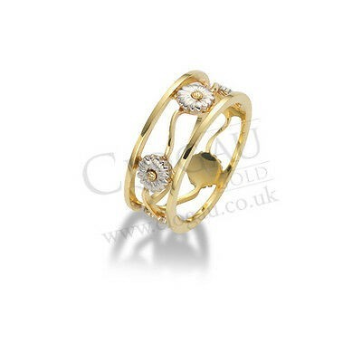 BRAND NEW Official Clogau Gold White & Yellow Gold Daisy Ring SIZE N