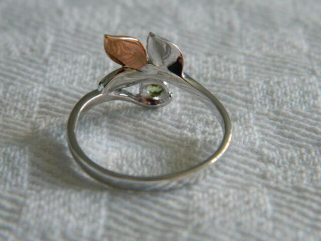 Clogau Sterling Silver & 9ct Welsh Gold Awelon Peridot Ring RRP £109.00 size L