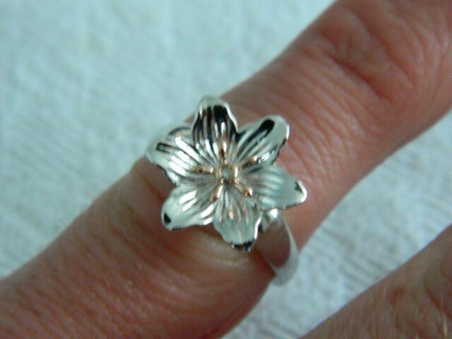 Clogau Silver & Welsh Gold Lady Snowdon Diamond Ring size J,K,L,M,O,S or T